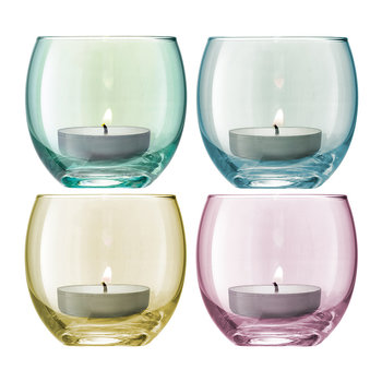 Polka Assorted Tealight Holders - Set of 4 - Pastel