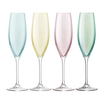 Polka Assorted Champagne Glasses - Set of 4
