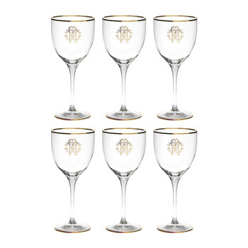 Monogram Wine Goblets - Set of 6 - Gold