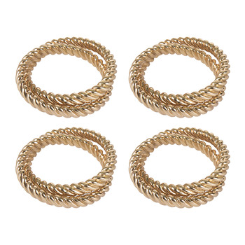 Deco Twist Napkin Rings - Set of 4 - Gold