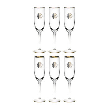 Verres à Champagne Monogram - Lot de Six - Or