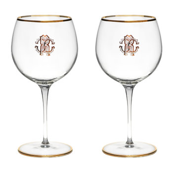 Monogram Large Wine Glasses - Set of 2 - Gold