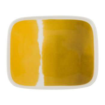 Oiva Plate - White/Yellow - 12x15cm