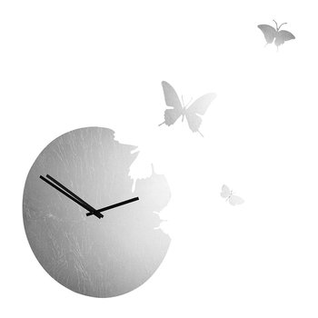 Large Butterfly Wall Clock - Silver Leaf