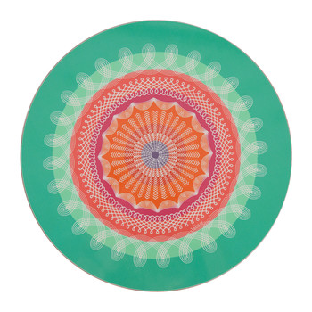 Round Folk Stripe Placemat - Green