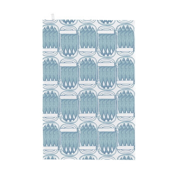 Sardine Tins Tea Towel - Pale Blue