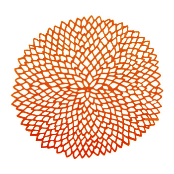 Pressed Vinyl Dahlia Round Placemat - Orange