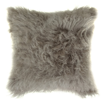 Mongolian Lambswool Cushion - 35x35cm - Grey