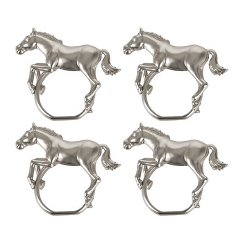 Horse Napkin Rings - Set of 4 - Platinum