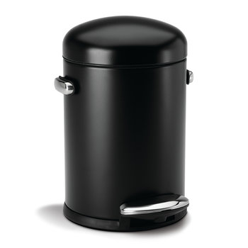 Round Retro Steel Pedal Bin - Black
