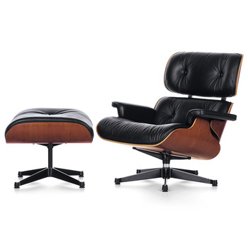 LCH XL Eames Lounge Chair & Ottoman - Cherry/Black