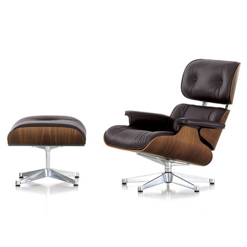 LCH XL Eames Lounge Chair & Ottoman - Walnut/Chocolate