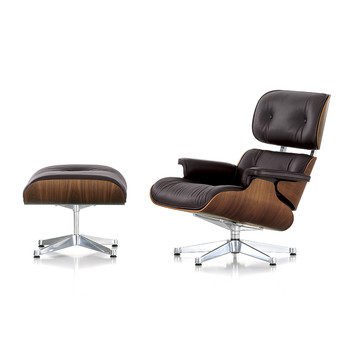 LCH Eames Lounge Chair & Ottoman - Walnut/Chocolate