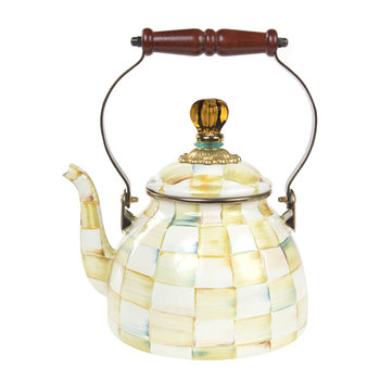 Parchment Check Enamel Tea Kettle