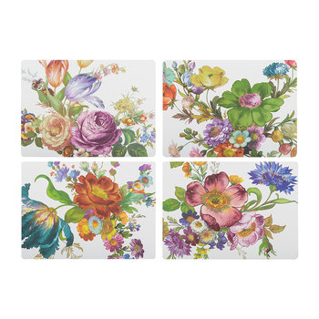 Flower Market Cork Back Placemats - Set of 4 - White
