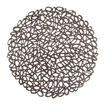 Pressed Pebble Round Placemat - Gunmetal