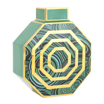 Malachite Octagonal Vase - Green/Gold