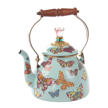 Butterfly Garden Enamel Tea Kettle
