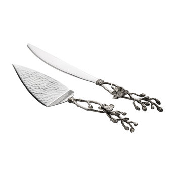 White Orchid Wedding Cake Knife & Server Set