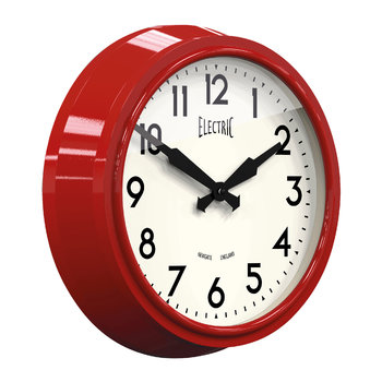 50's Electric Wall Clock - Biscuit Box Red