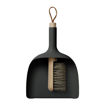 Dustpan & Brush with Funnel - Black