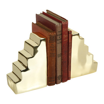 Stair Bookend Pair - Gold