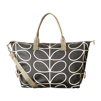 Zip Holdall - Linear Stem Print - Licorice
