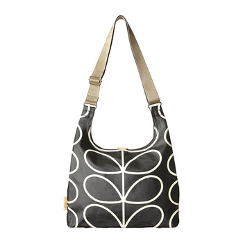 Embossed Stem Midi Sling Bag - Liquorice