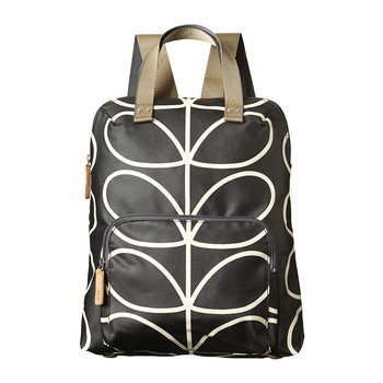 Backpack Tote  - Linear Stem Print - Licorice