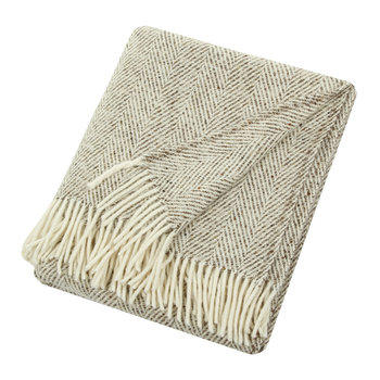Heavy Herringbone Throw - Digestive