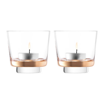 Edge Tealight Holder - Rose Gold - Set of 2