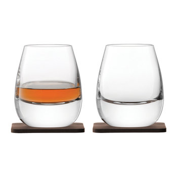 Whisky Islay Tumbler & Walnut Coaster - Set of 2