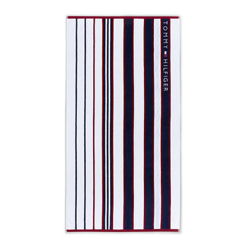 Blue & Red Striped Beach Towel