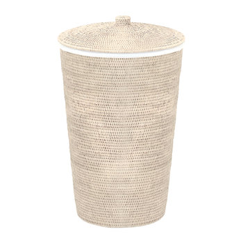 Basket WB Laundry Basket - Round with Cloth Bag - Light Rattan