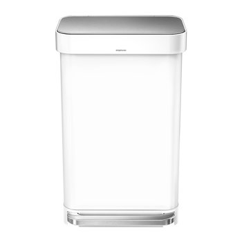 Rectangular Pedal Bin with Liner Pocket - White - 45 Liter