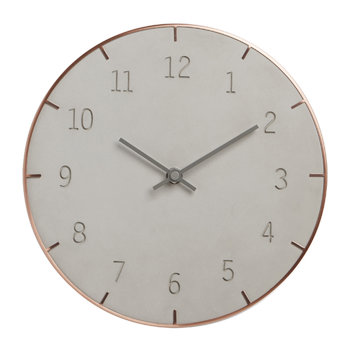 Piatto Clock - Concrete/Copper