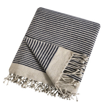 Etawah Wool Throw - Cream & Navy