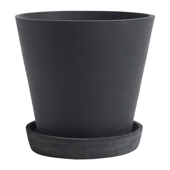 Polystone Flowerpot with Saucer - Black
