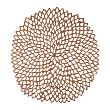 Pressed Vinyl Dahlia Round Placemat - Rose Gold