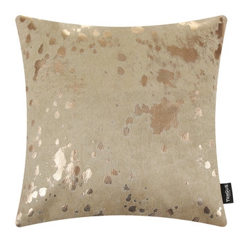 Acid Burnt Cowhide Cushion - 45x45cm - Beige/Bronze