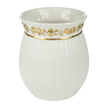 Impero Waste Bin - White & Antique Gold