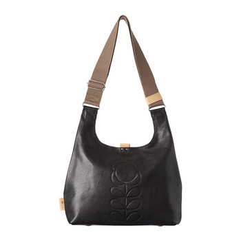 Embossed Stem Midi Sling Bag - Black