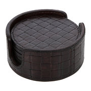 chocolate-weave-leather-coasters-round-set-of-6