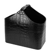 black-croc-leather-magazine-basket