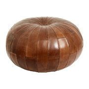 round-leather-pouf-antique-brown