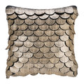 Luxe - Leather Scalloped Cushion - 35x35cm - Gold