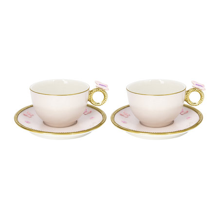 Villari - Butterfly Tea Box - Set of 2 Cups & Round Saucers - Baby Rose