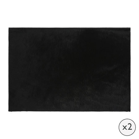 A by AMARA - Cowhide Placemats - Set of 2 - Black