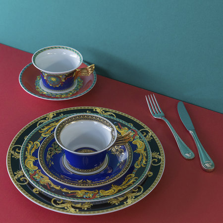 Versace Home - 25th Anniversary Medusa Blue Teacup & Saucer - Limited Edition