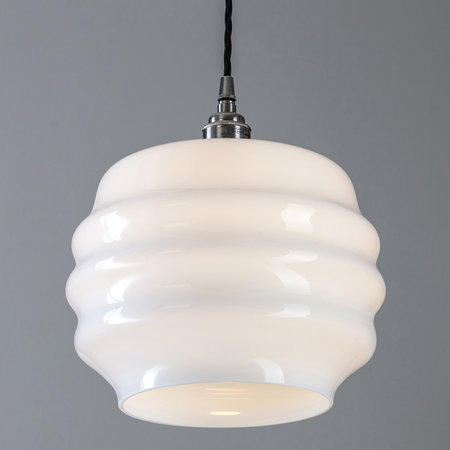 Old School Electric - Opal Glass Pendant Light - Deco Small
